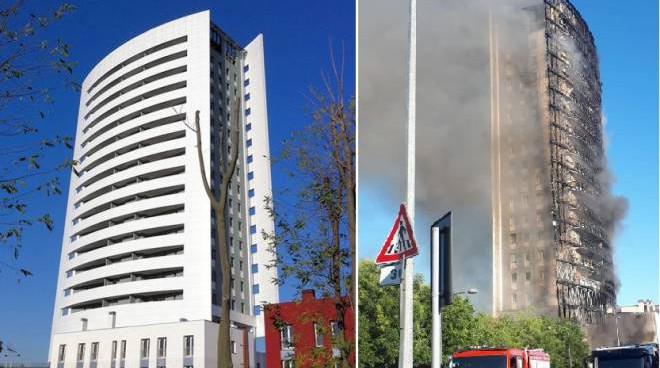 Torre dei moro Milano, prima e dopo l'incendio del 29 agosto